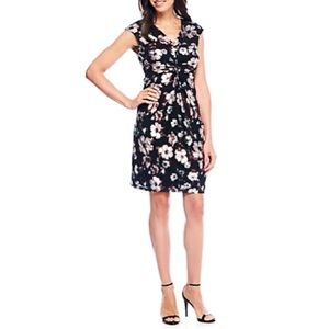 Ronni Nicole Cap Sleeve Floral Knot Dress